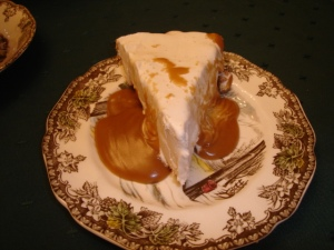 Egg Nog Ice Cream Pie w/Rum Sauce