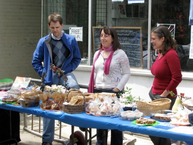 Vegan benefit bakesale for Peaceful Prairie Sanctuary (I'm in the middle)