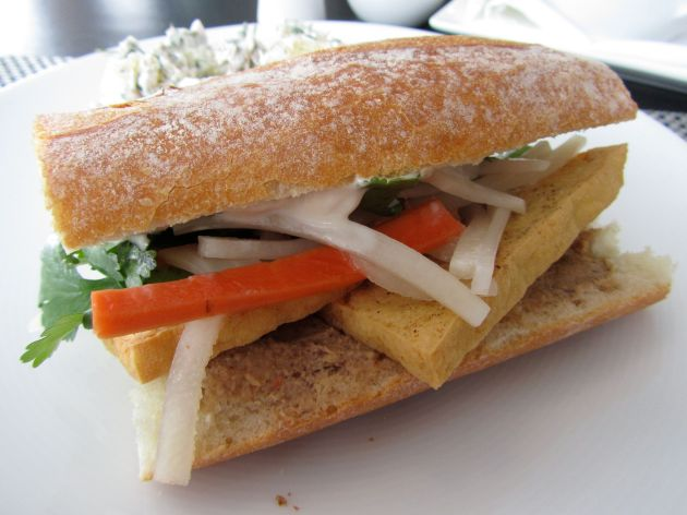 Fried tofu Bánh mì baguette, pickled radish and carrot, tempeh pate, Vegenaise